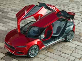 The Evos features two pairs of gullwing doors -- and packages them in a sleek coupe like bod. (&amp;copy;Ford Motor Company)